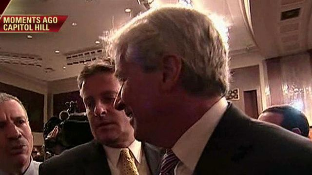 FBN's Charlie Gasparino catches up with J.P. Morgan CEO Jamie Dimon after his Senate hearing.